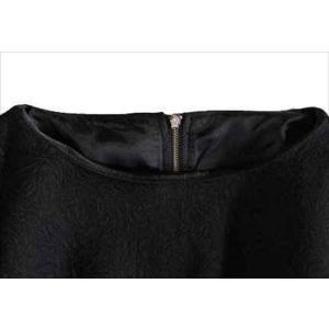 パーティードレス 10代 20代 30代 ワンピース おしゃれ フォーマル お呼ばれ エンボス ボートネック ブラック  ワンピ ミディアム 長袖 ロング カラードレス|fashion-shop-seleb|02
