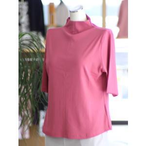 【送料無料】夏におすすめ 涼感繊維 カットソー ボトルネック 5分袖 日本製 Tシャツ 定番 40代 50代 60代 70代 ミセス レディス fashion-yoshimura