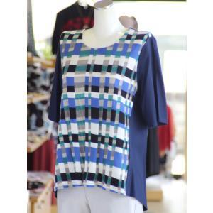 柄ニットのカットソー Tシャツ 綿100% 日本製 ニット 5分袖 50代 60代 70代 ミセス fashion-yoshimura