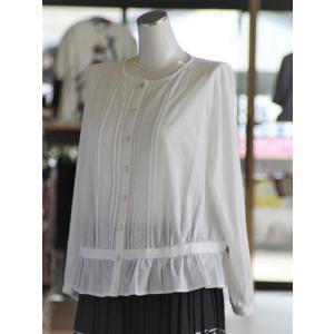 前開き 襟なし 白ブラウス 綿100% 日本製 fashion-yoshimura