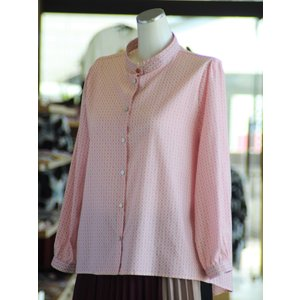 スタンドカラー 小模様 ギャザー ブラウス 綿100% 日本製 fashion-yoshimura