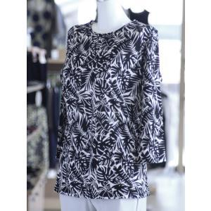 ボタニカル柄Tシャツ ゆったりサイズ 七分袖 綿100% 日本製 fashion-yoshimura