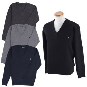 紳士/メンズ  ウール混セーター  12ゲージ  ブラック/チャコール/杢グレー/ネイビー  TE-329【ゆうパケット不可】 サンキ/sanki|fashionichiba-sanki