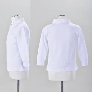 子供/こども 無地 長袖ポロシャツ 白 綿10...の詳細画像1