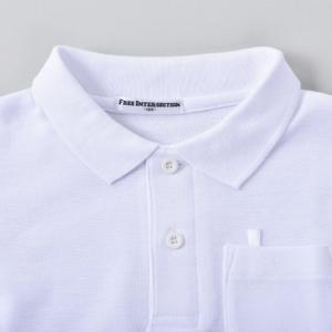 子供/こども 無地 長袖ポロシャツ 白 綿10...の詳細画像3