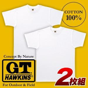 紳士/メンズ GTホーキンス 無地2枚組Tシャツ M〜LL グンゼ GUNZE 【1点までゆうパケット可能】 サンキ/sanki|fashionichiba-sanki