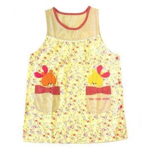 エプロン ルルロロ くまのがっこう フラワー 花柄 キャラクター 保育士 介護士 サイドボタン アップリケ フリーサイズ 【1点までメール便可】|fashionichiba-sanki