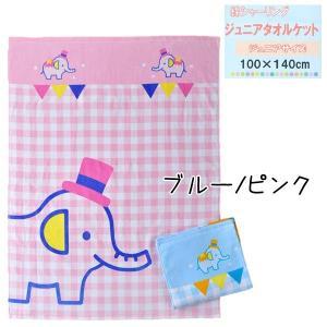 綿シャーリング お昼寝タオルケット ジュニアサイズ 約100×140cm ブルー/ピンク  【ゆうパケット不可】 サンキ/sanki fashionichiba-sanki