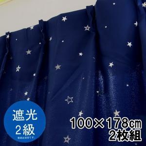 遮光カーテン 星 二級遮光 幅100×丈178cm 2枚組 ウォッシャブル【ゆうパケット不可】 サンキ/sanki|fashionichiba-sanki