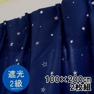 遮光カーテン 星 二級遮光 幅100×丈200cm 2枚組 ウォッシャブル【ゆうパケット不可】 サンキ/sanki|fashionichiba-sanki