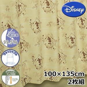 (現品限り)Disney/ディズニー ドレープカーテン カントリーミッキー 2枚組 100×135cm 【ゆうパケット不可】 サンキ/sanki|fashionichiba-sanki