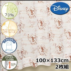 (現品限り)Disney/ディズニー レースカーテン カントリーミッキーレース 2枚組 100×133cm UVカット【ゆうパケット不可】 サンキ/sanki|fashionichiba-sanki