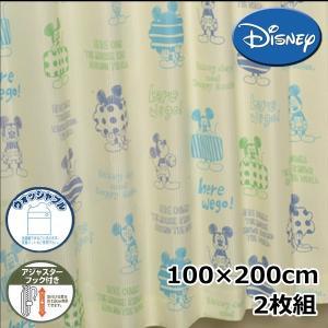 (現品限り)Disney/ディズニー ドレープカーテン クレヨンミッキー 2枚組 100×200cm 【ゆうパケット不可】 サンキ/sanki|fashionichiba-sanki