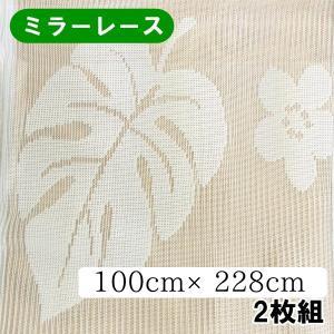 レースカーテン モンステラ ミラーレース 幅100cm×丈228cm【ゆうパケット不可】 サンキ/sanki|fashionichiba-sanki