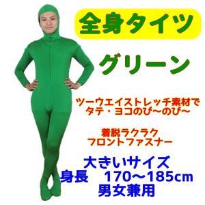 コスプレ のびーる素材 フィットタイプの全身タイツ 緑/グリーン Lサイズ 男女兼用 【1点までゆうパケット可】 サンキ/sanki fashionichiba-sanki