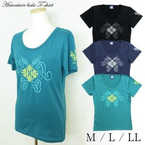 ハワイアン フラダンス Tシャツ 半袖 ハワイアンキルト 婦人 レディース フラ 用品 トップス 【2点までメール便可能】|fashionichiba-sanki