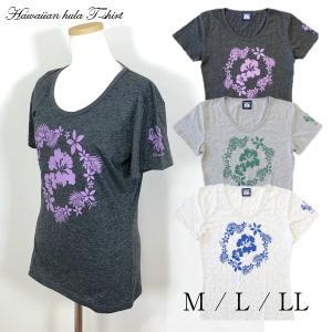 ハワイアン フラダンス Tシャツ 半袖 フラワーサークル 婦人 レディース フラ 用品 トップス 【2点までメール便可能】|fashionichiba-sanki