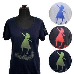 Tシャツ 半袖 フラダンス ハワイアン 用品 婦人 レディース セミワイドUネック トップス ホワイト ネイビー チャコール 【2点までメール便可能】31929404|fashionichiba-sanki
