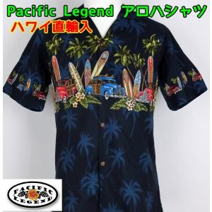 SALE Pacific Legend  紳士/メンズ アロハシャツ  サーフボード&車 【1点までメール便可】 サンキ/sanki|fashionichiba-sanki