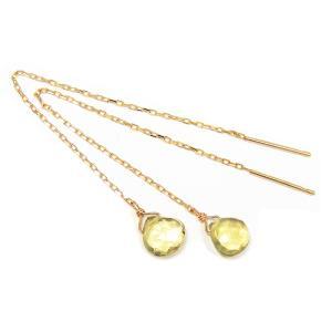 レモンクォーツ アメリカンピアス 揺れる イエローゴールド K10|fashionjewelry-em