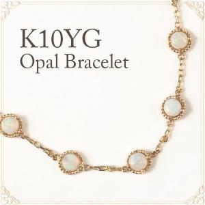 オパール ブレスレット イエローゴールド ミル打ち カボション K10YG|fashionjewelry-em