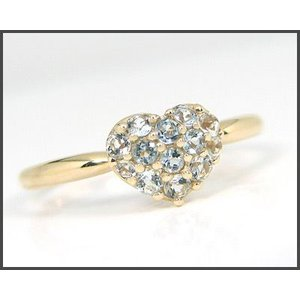 K10YG アクアマリン ハートモチーフ パヴェリング|fashionjewelry-em