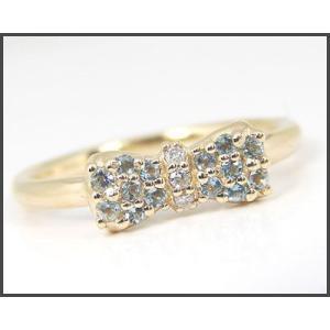 K10YG アクアマリン リボンモチーフ リング|fashionjewelry-em