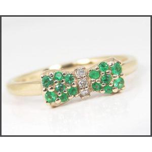 K10YG エメラルド リボンモチーフ リング|fashionjewelry-em