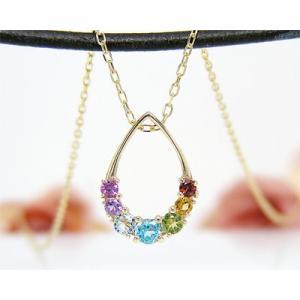アミュレット ネックレス K10 イエローゴールド マルチストーン お守り|fashionjewelry-em