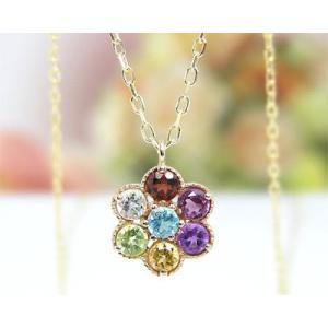 K10YG アミュレット お守り  マルチストーン ネックレス|fashionjewelry-em