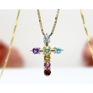K10YG マルチストーン  お守り アミュレット クロスネックレス|fashionjewelry-em