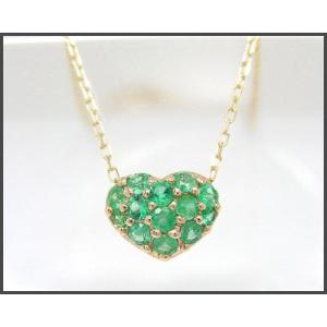 K10YG エメラルド ハートモチーフ パヴェネックレス|fashionjewelry-em