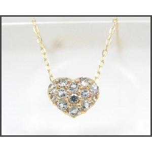 アクアマリン ハート パヴェ ネックレス K10YG|fashionjewelry-em