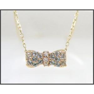 アクアマリン リボン パヴェ ネックレス K10YG|fashionjewelry-em