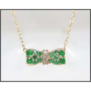 K10YG エメラルド リボンモチーフ パヴェネックレス|fashionjewelry-em