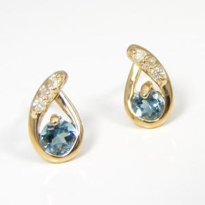 サンタマリア アクアマリン ピアス イエローゴールド K18YG|fashionjewelry-em