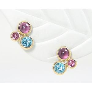 マルチストーン ピアス K10YG|fashionjewelry-em