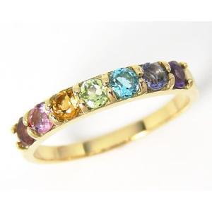 K18YG マルチストーン  お守り アミュレット ピンキーリング|fashionjewelry-em