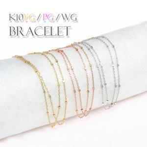 ブレスレット デザインチェーン 2連 K10 ゴールド/ピンクゴールド/ホワイトゴールド ステーション カットアズキ×キューブ|fashionjewelry-em