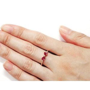 ルビー 4mm ハート ダイヤモンド リボンモチーフ リング K10/K18 PG/YG/WG|fashionjewelry-em|02