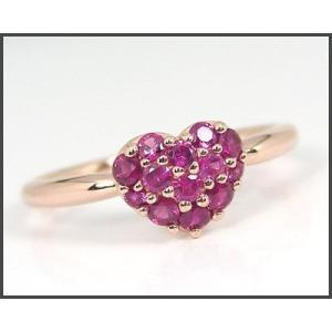 K10PG ルビー ハートモチーフ パヴェ リング|fashionjewelry-em