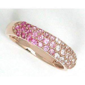 K10PG ピンクサファイア×ホワイトサファイア グラデーションパヴェ ファッションリング|fashionjewelry-em