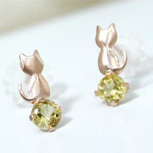 シトリン ネコ ねこ 猫  ピアス K10PG|fashionjewelry-em