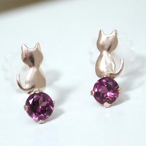 ロードライトガーネット ネコ ねこ 猫 ピアス K10PG|fashionjewelry-em