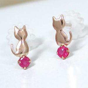 ルビー ネコ ねこ 猫 ピアス K10PG|fashionjewelry-em