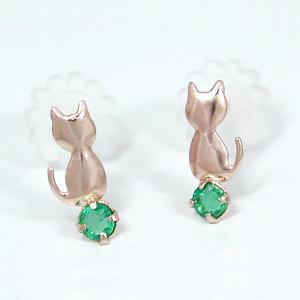 エメラルド ネコ ねこ 猫 ピアス K10 ピンクゴールド|fashionjewelry-em