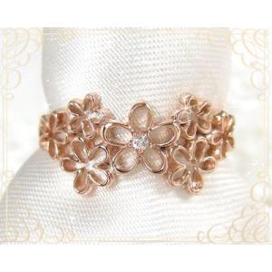 K10PG ダイヤモンド フラワーデザイン ピンキーリング|fashionjewelry-em