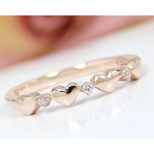 K10PG ダイヤモンド ハートモチーフ ピンキーリング|fashionjewelry-em