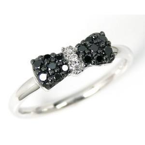K10WG ブラックダイヤモンド リボンモチーフリング|fashionjewelry-em