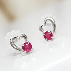 ルビー ハート ピアス ホワイトゴールド K10WG|fashionjewelry-em